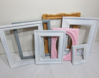 Picture Frames Set of 7 Upcycled Vintage Various Size Open Frames
