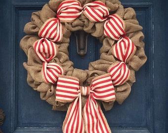 "Fall Burlap Wreath, Red Christmas burlap Wreath, XL large Summer Burlap Wreath, LARGE 26"", 22"" Spring Wreath, Patriotic Wreath, USA wreath"