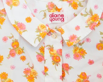 Sweet Vintage Diane Young 1960s Flowered Blouse with Peter Pan Collar