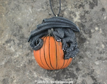 HORNLESS Pumpkin Dragon Halloween Necklace - In Stock and Ready to Ship