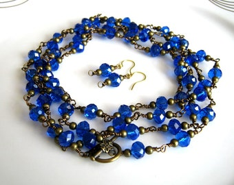 Very Long Antique Brass and Cobalt Blue Crystal Chain Necklace Set Cobalt Blue Chain Necklace Set (53.5 inches)