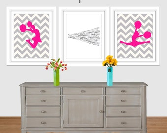Cheerleading Set, Hot Pink, Cheerleader Wall Art, Cheer set of 3, Pom, 8x10, 16x20, Cheer art print, Girls Room, Teen art, Cheer Topography