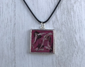 Hot Pink Swirl Square Necklace