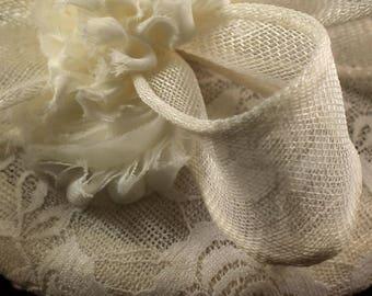 Ivory Sinamay Fascinator Hat - Wedding Fascinator - Aintree Fascinator - Race Day - Wedding Hat - Mother of the Bride Hat - Royal Ascot