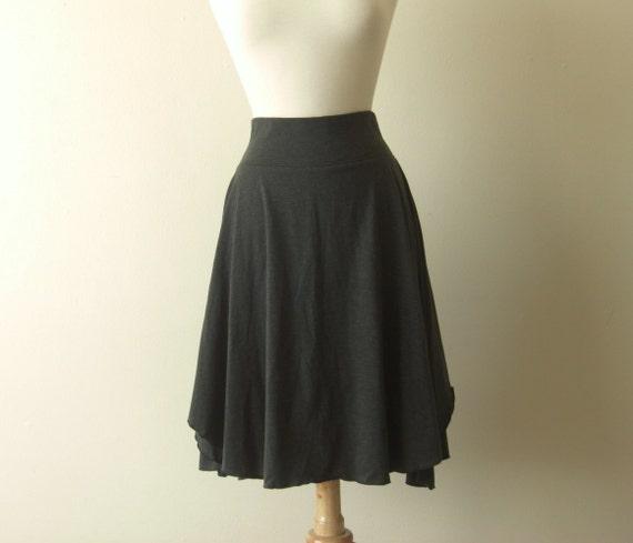 Womens Cotton Jersey Flutter Skirt knee length full swing skirt stretch cotton yoga waistband high waist charcoal grey - made to order