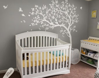 Elegant White Tree Decal Large Nursery Tree Decals With Birds Unisex White Tree  Decals Wall Tattoos Wall