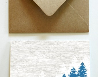 Blue Pines and Woodgrain Thank You Notes (30)