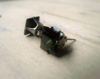 Green CZ Earrings Square Cubic Zirconia Earring Pair Item No 2792