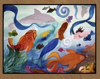 Tropical Fish and Mermaid Party indoor-outdoor floor mat.