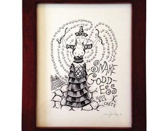 Snake Goddess: framed digital fine art print.