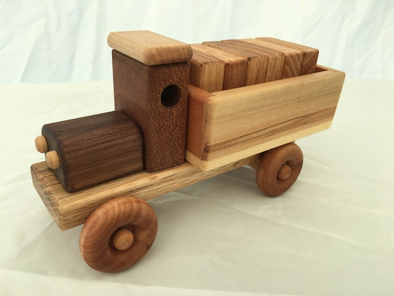 Handmade Wooden Toy Cargo Truck w/Plain Blocks
