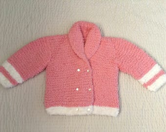 Hand knit Little girls tea-pink double-breast coat style sweater