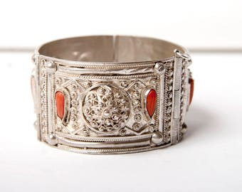 Ottoman Turkish silver cuff with coral