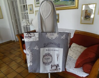 Large tote sewing themed
