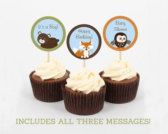 Cute Woodland Animal Cupcake Toppers / Woodland Baby Shower / Forest Animals / Fox / Owl / Bear / Gender Neutral / INSTANT DOWNLOAD A277