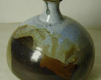 vintage 50s/60s Studio pottery bottle vase signed
