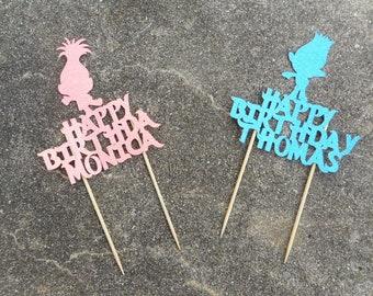 Custom Personalized Trolls Inspired Cake Topper- Happy Birthday Glitter Cake Topper- Poppy, Branch