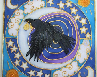 Raven art, mandala art, raven mandala, spiritual gift, animal guide, shamanic art, pagan art, spiritual, meditation,gifts under 40, pagan,