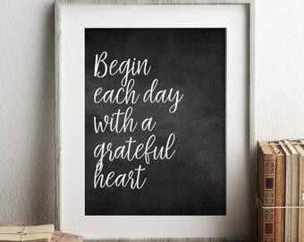 Motivational Quote Art Print, Grateful Heart, Printable Wall Art, Positive Art