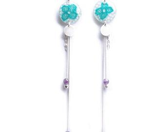 Longue boucles d'oreille pendantes fleur verte - Argent 925