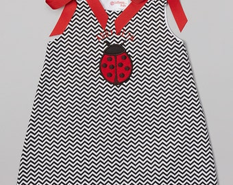 Black Chevron Appliqued Ladybug Jumper