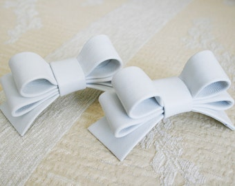 White Leather Bow Shoe Clips