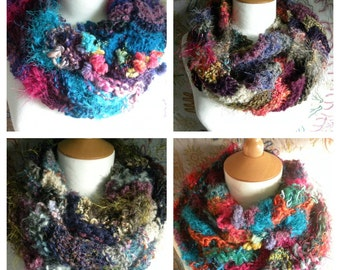 PATTERN for hand knitted mixed yarn infinity scarf