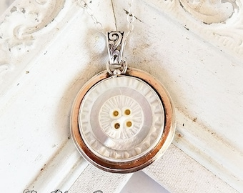 Antique Mother of Pearl Button Bronze and Sterling Pendant Necklace