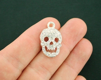 4 Skull Charms Silver Tone With Inset Rhinestones - SC6913