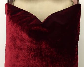 Wine Red Velvet Throw Pillows, Red Pillows, Velvet Pillow Cover, Luxury Pillows, Decorative Pillow, Velvet Cushions, Red Velvet Pillows