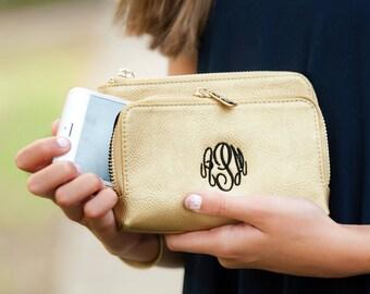 Monogram Wristlet, Monogrammed Wallet, Monogrammed Wristlet, Monogram Clutch, Bridesmaids Gift, Gold Sloane Wristlet, Monogrammed Clutch
