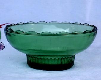 Green Glass Pedestal Bowl, E.O. Brody Co, M2000, vintage 1960s, Christmas decor