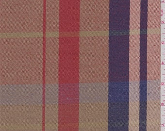 Gold/Red/Violet Plaid Linen, Fabric By The Yard
