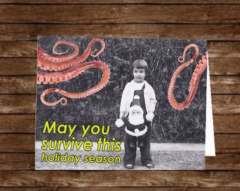 FREE Us SHIPPING 10 Pack May You Survive the Holidays Giant Squid Cards FUNNY