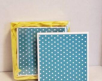Blue and white polka dot ceramic coasters, set of 2