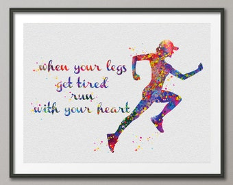 Runner Woman Watercolor Art Print Running Female Runner Quote Motivational Wall Art Wall Decor Marathon Home Decor Sport Wall Hanging-393