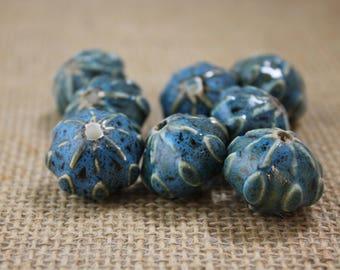 Vintage Large Blue Ceramic Beads (2 Pieces)