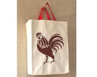 Canvas Bag, Free Shipping, Rooster, Reusable Grocery Bag, Eco Friendly Bag, Farmers Market Bag, Grocery Bag, Reusable Bag, Tote Bag