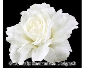 Bridal Hair Flower, Wedding Hair Accessory, Flower Hair Clip - Pale Ivory Mckenzie Rose Flower Clip