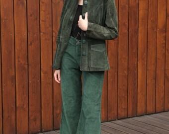 Vintage 70's Bottle Green Suede Leather Jacket