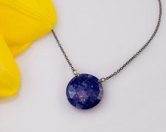 Round Lapis Lazuli Necklace, Royal Blue Stone,  September Birthday, Something Blue, Everyday Necklace, Natural Lapis, Layering Necklace