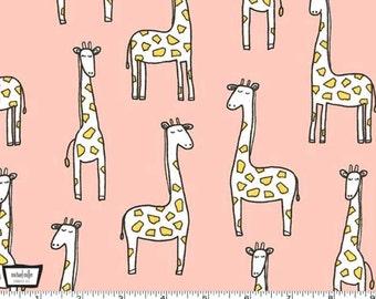 Baby Zoo FLANNEL - Gentle Giraffes Blossom  Pink Blush from Michael Miller - HALF YARD