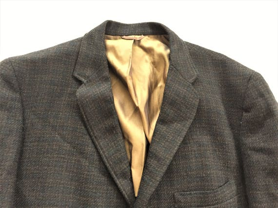 Vintage 1970's Griffon Clothes Brown/Orange & Yellow Plaid Sport Coat - Size 42 lDjHrJP2i