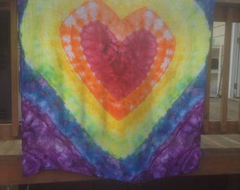 Tie Dye Baby Swaddling Blanket Rainbow Heart Hippie Baby Gift