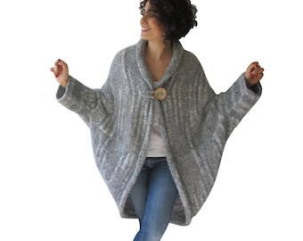 Chunky Light Gray Casual Cardigan
