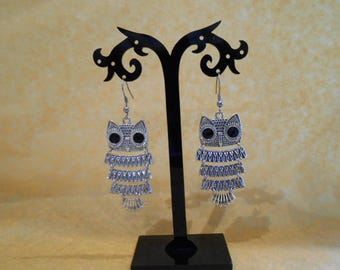 Earrings OWL articulated silver colors