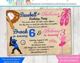 Baseball and Ballerina  Birthday Brother and Sister Birthday Party - Sibling Invitation - Baseball and Ballerina Twins - Boy and Girl