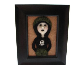 Goth Girl - Needle felted - Punk Girl Picture