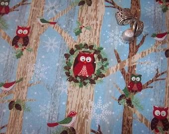 "Owls & Birds in Trees on Blue ""Woodland Christmas"" BTHY Gina Linn Blank Quilting"