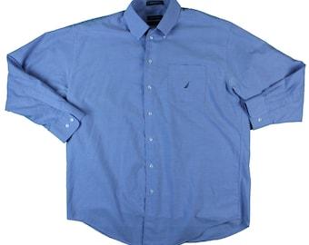 Nautica Solid Blue Dress Shirt - L